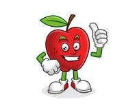 Pollice sulla mascotte della mela Vettore del carattere di Apple Logo di Apple Fotografie Stock