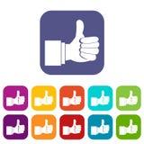 Pollice sulle icone di gesto messe Immagine Stock