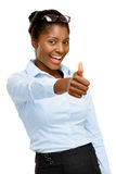 Pollici afroamericani felici della donna di affari su isolati su bianco Fotografie Stock