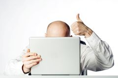 Pollici dell'uomo d'affari in su Fotografia Stock Libera da Diritti