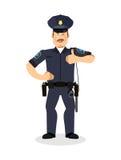 Pollici della polizia su Segni tutto bene Kop allegro Mano del poliziotto Fotografia Stock Libera da Diritti