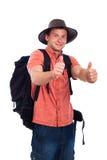 Pollici felici del viaggiatore con zaino e sacco a pelo in su Fotografia Stock Libera da Diritti