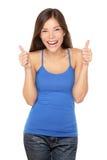 Pollici felici della donna in su su bianco Fotografia Stock
