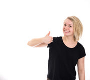Pollici felici della ragazza in su Fotografia Stock Libera da Diritti