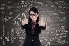 Pollici felici di manifestazione della donna di affari su nella classe Fotografie Stock