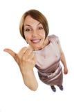 Pollici positivi della donna in su Fotografia Stock Libera da Diritti