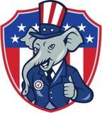 Pollici repubblicani della mascotte dell'elefante sul fumetto della bandiera di U.S.A. Immagine Stock
