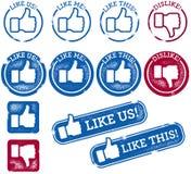Pollici sociali di media su e bolli di simile illustrazione vettoriale