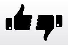 Pollici su e giù, come le icone di avversione per la rete sociale illustrazione vettoriale