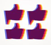 Pollici in su Icone stabilite di simile nei colori luminosi Fotografia Stock Libera da Diritti