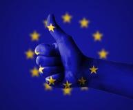 Pollici su per l'Unione Europea Fotografia Stock