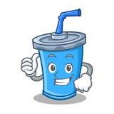 Pollici sul fumetto del carattere della bevanda della soda illustrazione vettoriale
