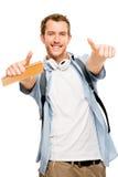 Pollici sull'uomo felice dello studente Immagine Stock Libera da Diritti