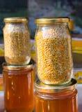Polline dell'ape come alimento crudo organico sano in barattolo fotografia stock libera da diritti