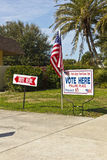 Polling Place - Vertical. Voting signs outside community polling place during primary Royalty Free Stock Image