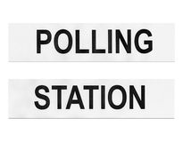 Polling station. Place for voters to cast ballots in elections - isolated over white background Royalty Free Stock Images