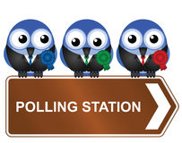 Polling station. Comical polling station sign isolated on white background Stock Photo