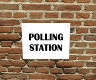 Polling station label. Polling station place for voters to cast ballots in general elections Royalty Free Stock Photos