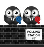 Polling Station. Monochrome comical polling station sign on brick wall Royalty Free Stock Photos