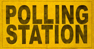 Polling Station Sign. A Polling Station Sign For An Election Royalty Free Stock Photo