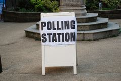 Polling Station sign, England. A sign marking the location of a polling station during government elections in England Stock Images