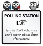 Polling Station Sign. Monochrome comical polling station sign isolated on white background Stock Photo