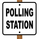Polling Station Sign. A polling station sign over a white background Stock Photography