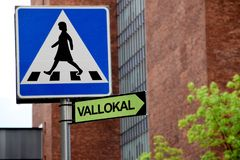 Polling station sign in Swedish showing the direction to closest polling place in the city royalty free stock image