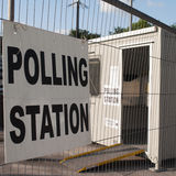 Polling station in temporary cabin Royalty Free Stock Photo
