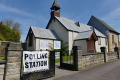 Polling Station. Trowbridge, UK - May 5, 2016: View of a polling station at a church. Voters are electing members for the Scottish Parliament, Welsh Assembly Royalty Free Stock Photos