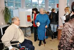 Polling stations for people with disabilities Stock Photo