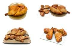 Pollo ahumado y piernas de pollo asadas a la parrilla en un fondo blanco Foto de archivo