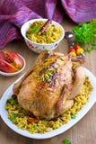 Pollo al forno con riso ed i frutti secchi Fotografia Stock Libera da Diritti