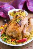Pollo al forno con riso ed i frutti secchi Immagine Stock Libera da Diritti