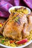 Pollo al forno con riso ed i frutti secchi Fotografie Stock Libere da Diritti