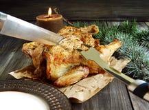 Pollo al forno per il Natale Fotografia Stock Libera da Diritti