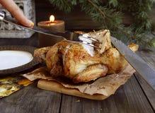 Pollo al forno per il Natale Immagine Stock Libera da Diritti