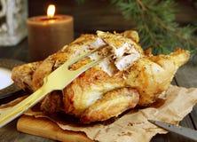 Pollo al forno per il Natale Fotografie Stock Libere da Diritti