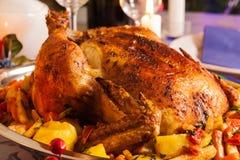 Pollo al forno per la cena di Natale Fotografia Stock