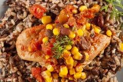 Pollo al sudoeste con arroz y maíz Fotografía de archivo