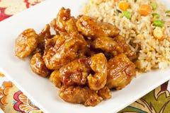 Pollo arancio casalingo con riso Immagini Stock