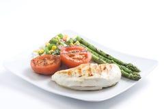 Pollo arrostito col barbecue bistecca con le verdure Immagine Stock Libera da Diritti