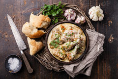 Pollo arrostito con la salsa di aglio cremosa Fotografie Stock Libere da Diritti