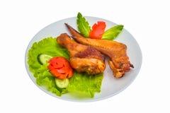 Pollo arrostito delle ali e della coscia fotografie stock libere da diritti