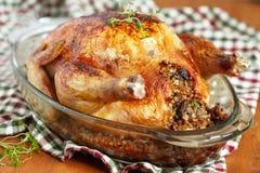 Pollo arrostito farcito con grano saraceno fotografia stock libera da diritti
