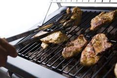 Pollo arrostito sulla griglia del gas sul giardino, fondo bianco Immagini Stock