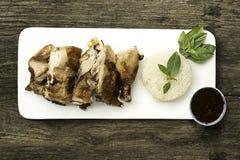 Pollo arrostito tailandese con riso appiccicoso Immagine Stock