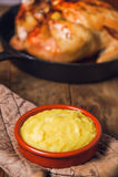 Pollo arrosto e purè Fotografie Stock