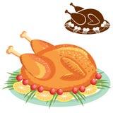 Pollo arrosto sul piatto. Alimento di vettore isolato su wh Fotografia Stock