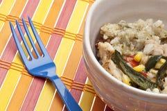 Pollo, arroz, maíz y comida sanos de las pimientas Fotos de archivo libres de regalías
